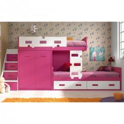 Litera con cama nido y armario