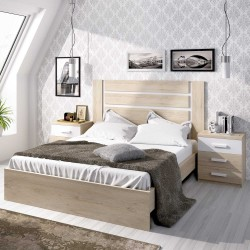 Dormitorio completo Natural con Blanco Satinado