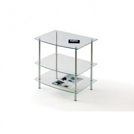 Mesa TV en vidrio y cromo