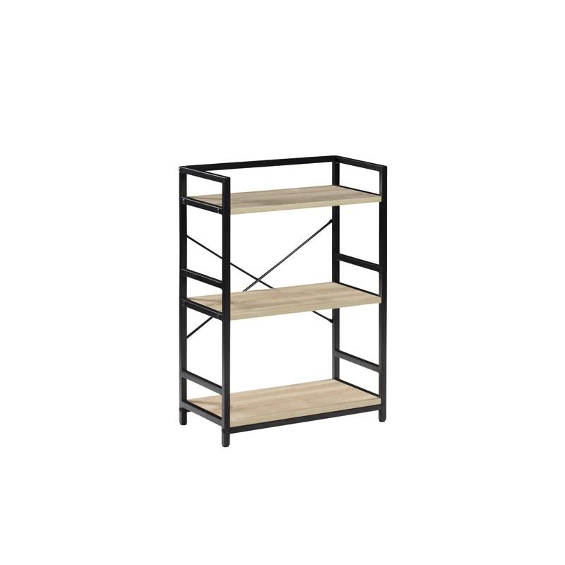 Estantería de metal y DM de 3 estantes, en negro y cambrai.