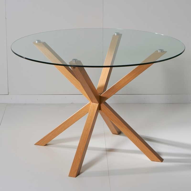 Mesa fija de cristal redonda con estructura de metal color