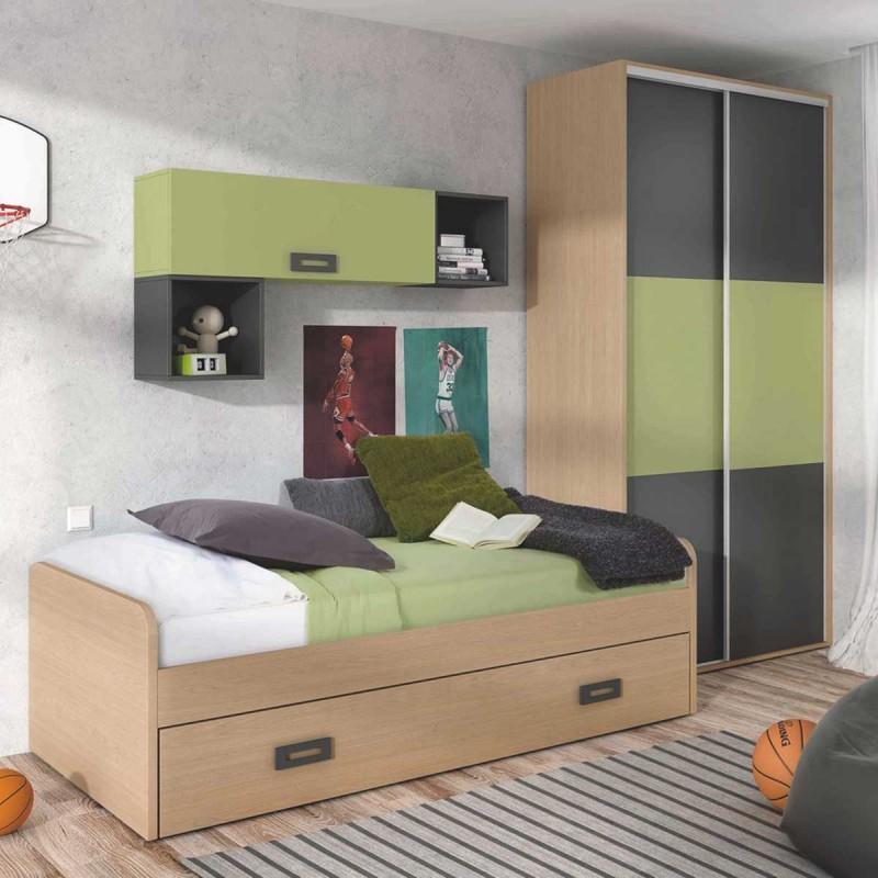 Habitaci n juvenil con cama nido armario y m dulos de estanter a - Habitacion con cama nido ...