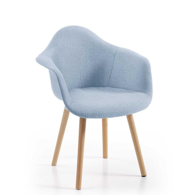 Sill n silla tapizado con patas en haya y distintos colores for Sillon con colchon