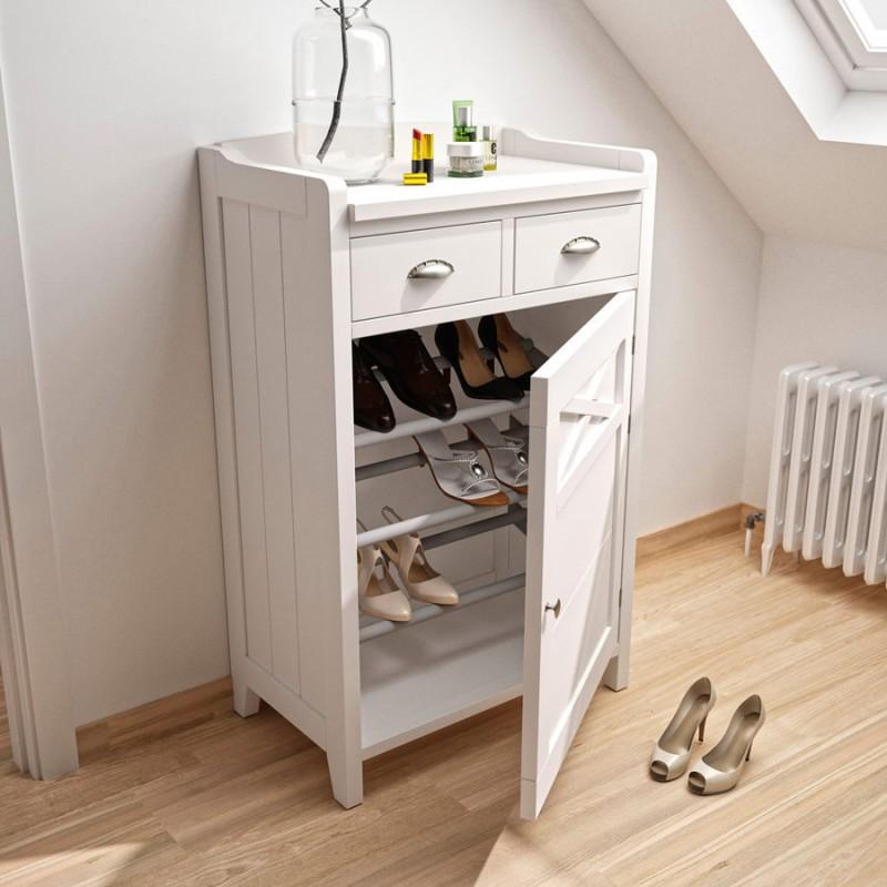 Mueble zapatero con dos cajones y estilo r stico vintage - Zapatero rustico ...