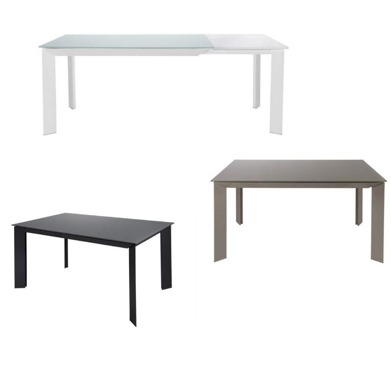 Mesa de comedor extensible de cristal templado y patas for Mesa comedor cristal templado extensible