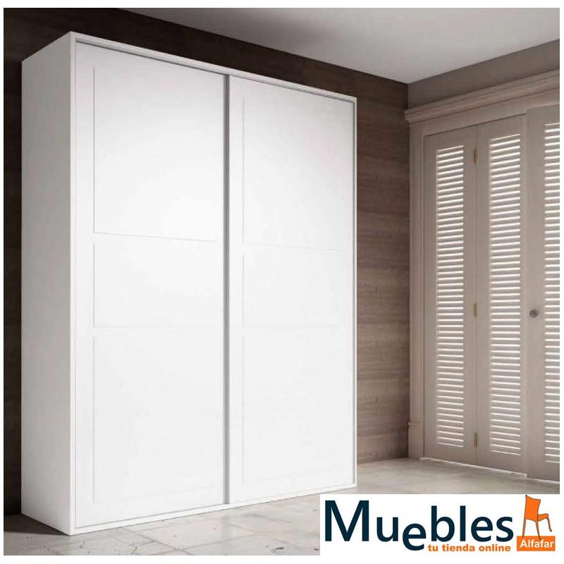 Armario puertas correderas enmarcadas acabado en blanco o nogal - Puertas de armario correderas ...