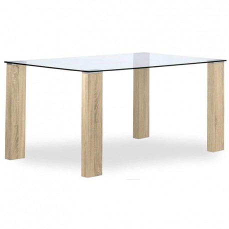 Mesa de comedor con tapa cristal y patas madera roble natural - Patas para mesa de cristal ...
