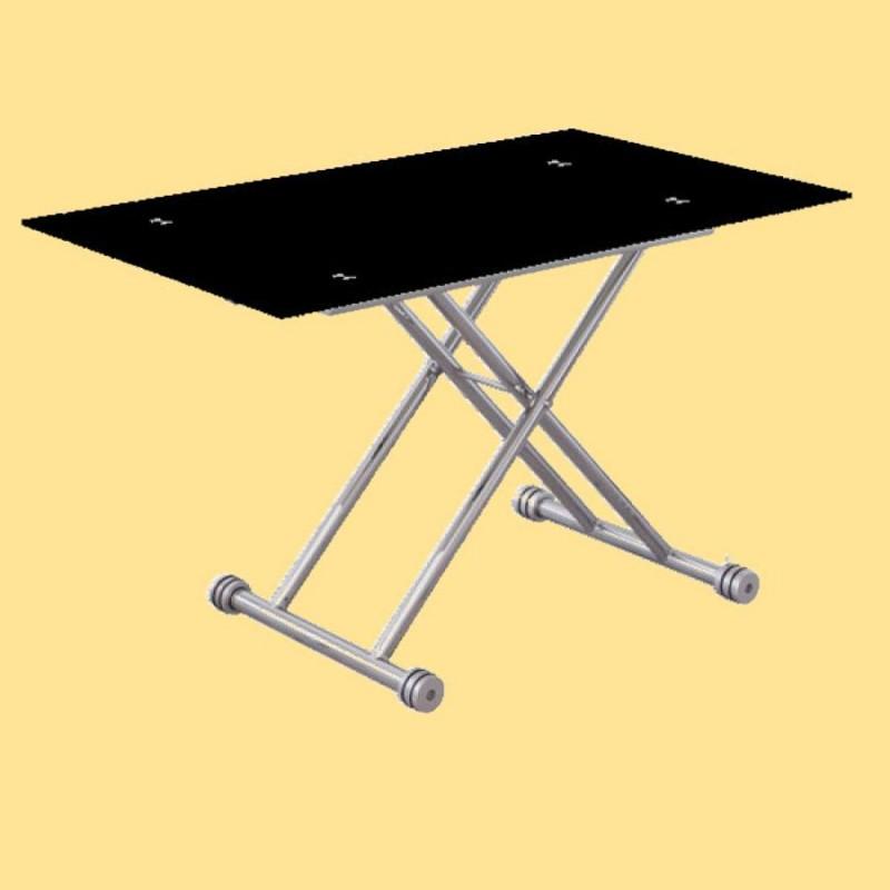Mesa de centro elevable con cristal de color negro.