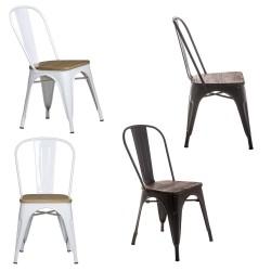 Pack 4 sillas acero y madera (blancas o negras)