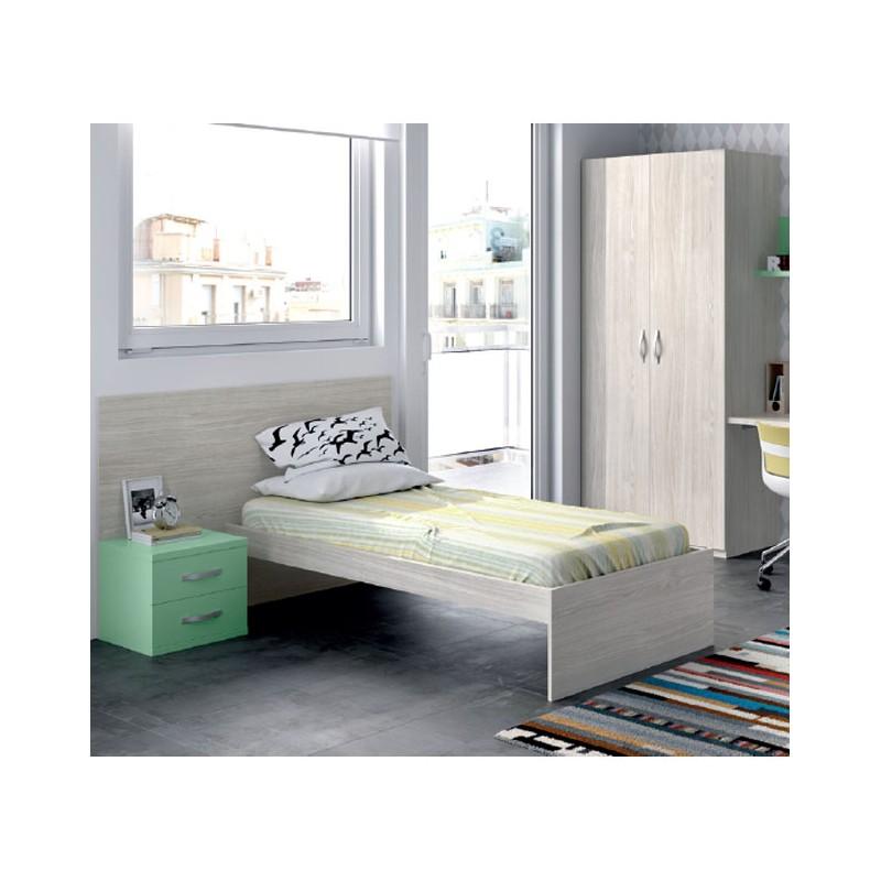 Habitaci n juvenil compuesta por cama armario y mesita for Habitacion juvenil completa