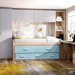 Compacto, cama desplazable oculta y contenedores