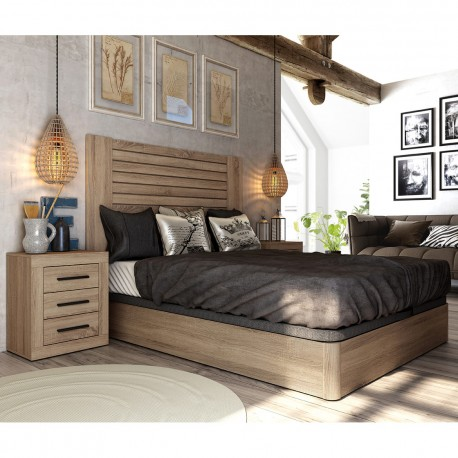 Dormitorio moderno acabado roble