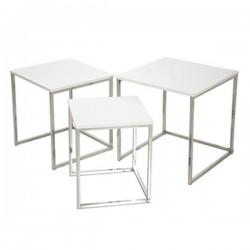Set tres mesas auxiliares madera / metal