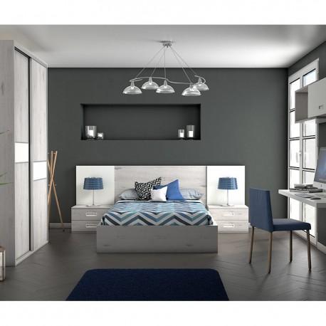 Dormitorio con cabezal y mesitas. Canapé opcional.
