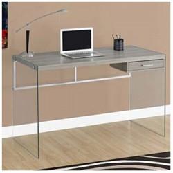 Mesa escritorio de madera, metal y cristal