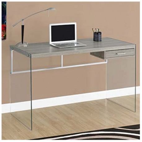 Mesa escritorio con caj n y estructura de cristal madera - Mesas estudio cristal ...