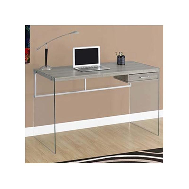 Mesa escritorio con caj n y estructura de cristal madera - Mesas escritorio de cristal ...
