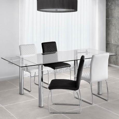 Mesa extensible con tapa cristal