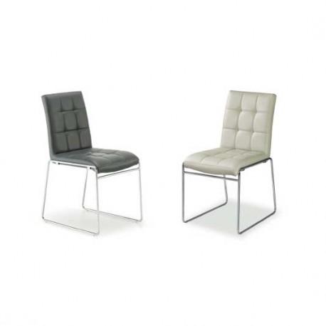 Conjunto 4 sillas metal tapizado en Polipiel
