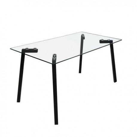 Mesa de comedor de cristal templado y patas metálicas
