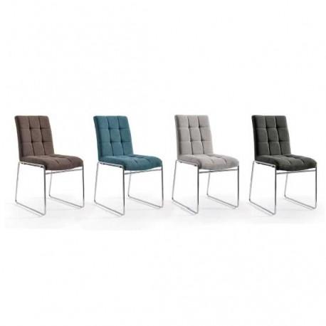 Conjunto 4 sillas con estructura cromo y tapizado en Chenilla
