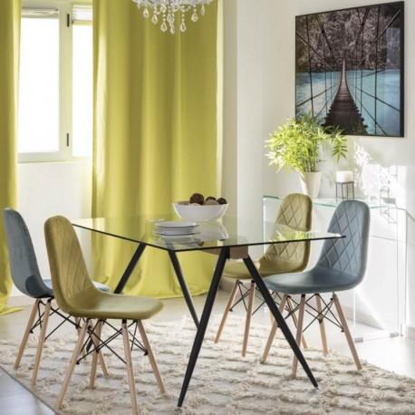 Mesa de comedor con tapa de cristal transparente y patas for Mesas de comedor cristal transparente