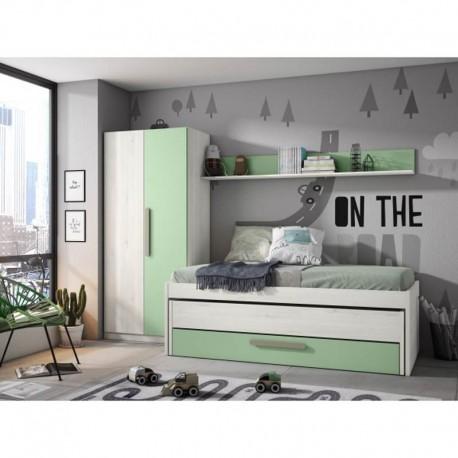 Compacto juvenil con dos camas y cajón