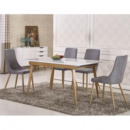 Mesa Comedor Extensible en blanco brillo y madera