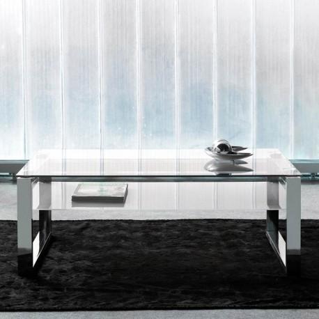 Mesa Centro cristal y acero
