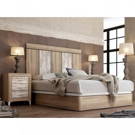 Dormitorio con cabezal y mesitas.