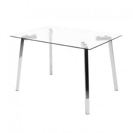 Mesa comedor de cristal y metal