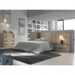 Dormitorio con cabecero, comodín y mesitas