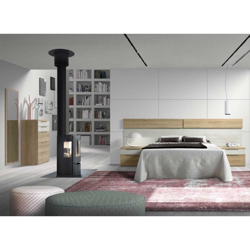 Dormitorio moderno con cabezal y mesitas sinfonier opcional for Dormitorio roble moderno