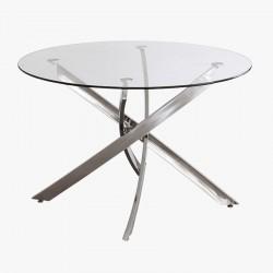 Mesa redonda de cristal y metal
