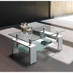 Mesa de centro cristal y lacado