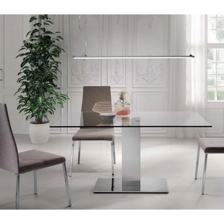 Mesa de cristal y pie cromado