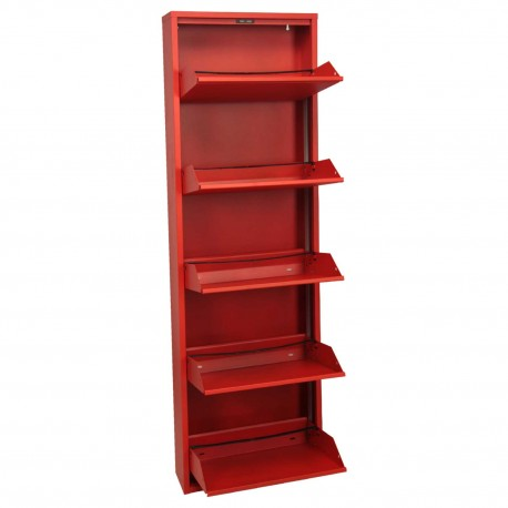 Mueble zapatero metal rojo
