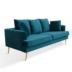 Sofá tapizado en terciopelo color agua