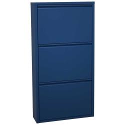 Zapatero de tres cajones acabado metal azul.