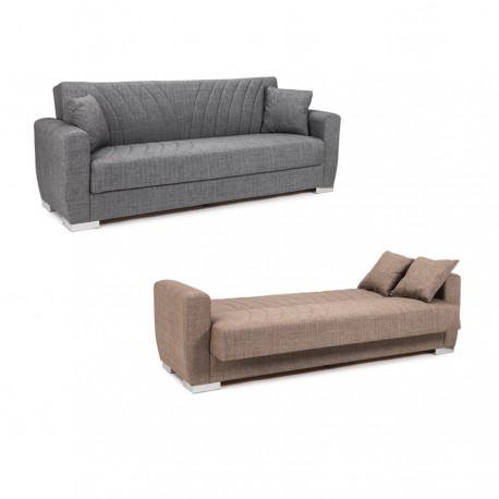 Sofá cama tapizado (gris o marrón)