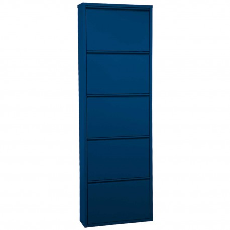 Zapatero de cinco cajones en acabado metal azul.
