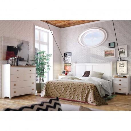 Dormitorio vintage con mesitas cabecero y c moda for Mesitas y comodas ikea