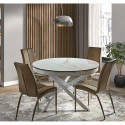 Mesa comedor porcelanico carrara extensible mdf y pies de metal