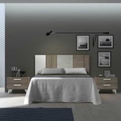 Dormitorio con cabecero y mesitas