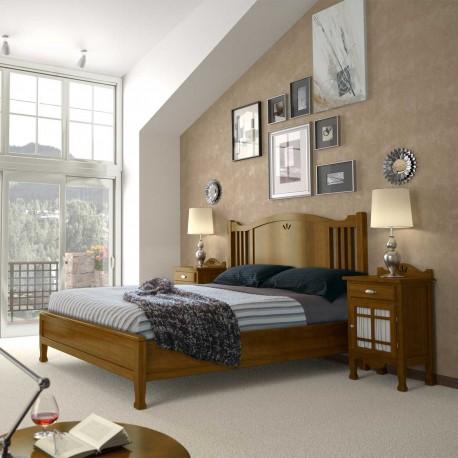 Dormitorio con cabezal, pecera para colchón y mesita