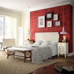 Dormitorio compuesto cabecero, mesitas, banqueta y espejo.
