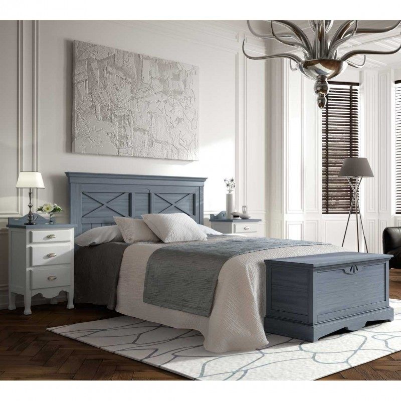 Dormitorio estilo r stico con cabezal mesitas y ba l - Baul para dormitorio ...