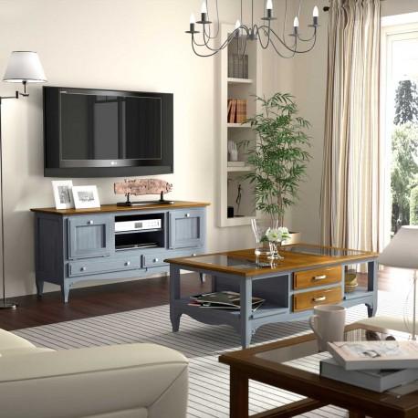 Mesa de TV de dos puertas y dos cajones