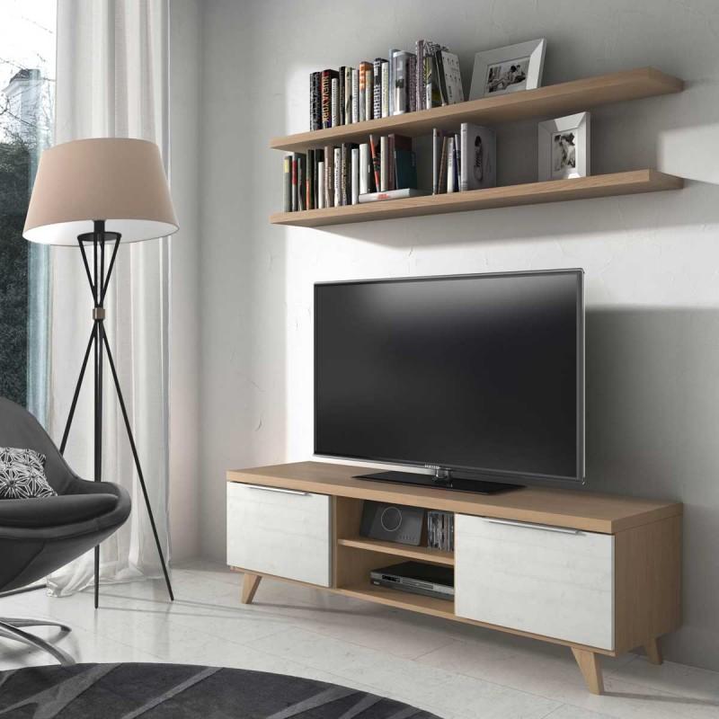 Mesa tv con dos puertas y patas estanter as opcionables - Mesas con puertas ...