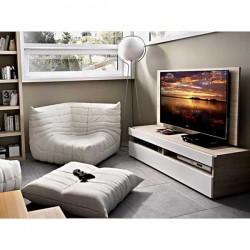 Bajo TV con panel y cajón con cristal